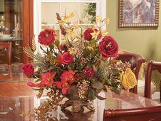 silk flower arrangements | ... QUALITY LARGE RED & GOLD ARTIFICIAL SILK FLORAL FLOWER ARRANGEMENT