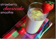 Strawberry cheesecake smoothie - sounds yummy!           1.5 frozen bananas      ¾ cup frozen strawberries      3 wedges Laughing Cow Light Strawberries & Cream cream cheese      ¾ cup Silk Pure Almond Unsweetened Vanilla      1 6-ounce container vanilla Greek yogurt