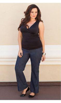 Kiyonna Dillon Denim Trousers In Blue