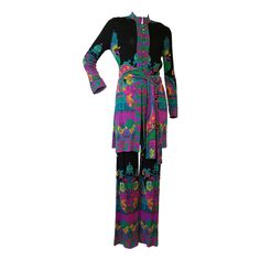 1960s Leonard 2-Piece Silk Jersey Pant Suit w/ Psychedelic Chinese Print | From a collection of rare vintage suits, outfits and ensembles at https://www.1stdibs.com/fashion/clothing/suits-outfits-ensembles/