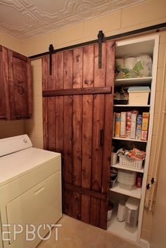 EPBOT: Make Your Own Sliding Barn Door - For Cheap! For the doorway between living room and kitchen t o make it look like a bigger door