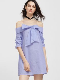 Shop Blue And White Striped Bow Tie Fold Off The Shoulder Dress online. SheIn offers Blue And White Striped Bow Tie Fold Off The Shoulder Dress & more to fit your fashionable needs.