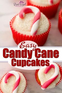 Easy Fondant Candy Cane Cupcakes · Pint-sized Treasures : These adorable, candy cane cupcakes are made with fondant and are simple to create for the holidays! Party Desserts, Christmas Desserts, Christmas Treats, Christmas Holiday, Celebrating Christmas, Christmas Goodies, Christmas Baking, Christmas Decor, Xmas