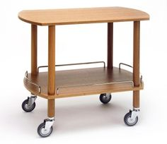 Wooden gueridon trolley, 2 levels, crome plated rail