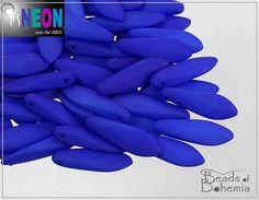 UV Active Neon Indigo Czech Dagger Beads 16x5 mm by BeadsOfBohemia