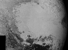 synthetic perspective view of Pluto, based on the latest high-resolution images to be downlinked from NASA's New Horizons spacecraft, shows what you would see if you were approximately 1,100 miles (1,800 kilometers) above Pluto's equatorial area, looking northeast over the dark, cratered, informally named Cthulhu Regio toward the bright, smooth, expanse of icy plains informally called Sputnik Planum.