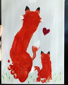 Brother foxes  Finger paint with little ones