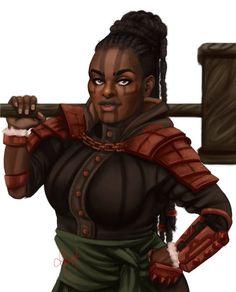 f Dwarf Rogue Thief Studded Leather Armor Warhammer urban traveler underdark Jurtha do Machado de Ébano Black Characters, Dnd Characters, Fantasy Characters, Female Characters, Fantasy Figures, Fictional Characters, Fantasy Dwarf, Fantasy Rpg, Fantasy Girl