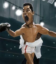 Rich Conley Muhammad Ali Caricature Framed Limited Edition on Canvas