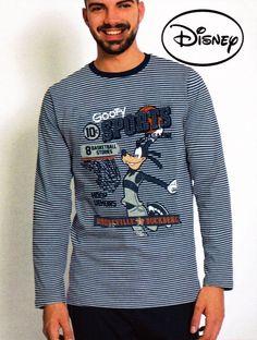 #Pijama disney Goofy Sports en algodón - Ref: 58227 Marino - Pijama muy suave en punto de algodón, informal y divertido. Pijama de manga y pantalón largo para usar todo el año. #hombre #ropaInterior #modahombre http://www.varelaintimo.com/marca/1/admas