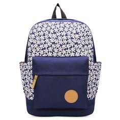 Sale 11% (15.35$) - Girl\'s Canvas Travel Satchel School Rucksack Shoulder Bag Backpack