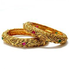 Intricate Carved Bangles - Set of Two, $64 Kundan Bangles, Bridal Bangles, Gold Bangles, Bridal Jewelry, Gold Jewelry, Pakistani Jewelry, Indian Wedding Jewelry, Bangle Set, Bangle Bracelets