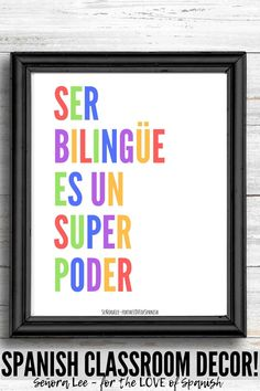 Spanish Classroom Decor! Welcome students back to Spanish class with this bold Spanish Classroom Decor, Classroom Walls, Classroom Posters, Spanish Word Wall, Spanish Words, Middle School Spanish, Elementary Spanish, Spanish Lesson Plans, Spanish Lessons