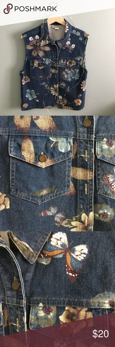 Vintage Floral Denim Vest This vest is so cute with flowers and butterflies patterns. It is in perfect condition! It is size small but I think it could fit up to a L. Vintage Jackets & Coats Vests