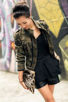 camo jacket (I just got one just like this @ Rue 21 - cheap!) + splash of leopard