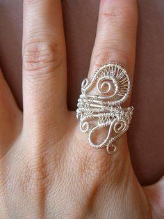 Silver boho ring wirewraped
