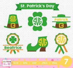 St. Patricks Day monogram SVG, Saint Patricks Silhouette Studio, St. Patricks Day SVG Files, by VectorsForAll on Etsy