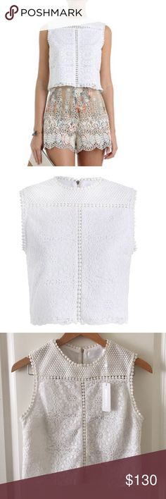 """Zimmermann Anais Lace Top NWT Zimmermann Anais Lace Bodice Top. Ivory color. Size US 4-6, AU 1, EU 38. Sleeveless crop top with back zipper. Retails $265 (sold out). Tiny gray spot on back left corner near zipper. Main: 100% polyester/100% Cotton lining. Length: 17.5""""/ Chest 18.5"""".  Offers accepted. Zimmermann Tops Crop Tops"""