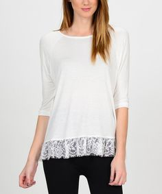 Another great find on #zulily! Bellino White Lace-Trim Three-Quarter Sleeve Top by Bellino #zulilyfinds