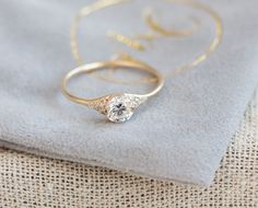 Solid 14k Yellow Gold Diamond Engagement Ring by Melanie Casey.