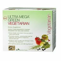 GNC Maximun Greens Ultra Mega Green Vegeterian - 30 VitaPaks by GNC. $38.29. All natural, non-GMO and vegetarian formula. Offers a superior blend of greens, fruits, vegetables, antioxidants and enzymes to help support good health. More antioxidant capacity than 6 standard servings of vegetables. Produced from over 26 nutrient-dense super foods. GNC is the leader in the development and manufacture of dietary supplements, committed to producing the highest quality...