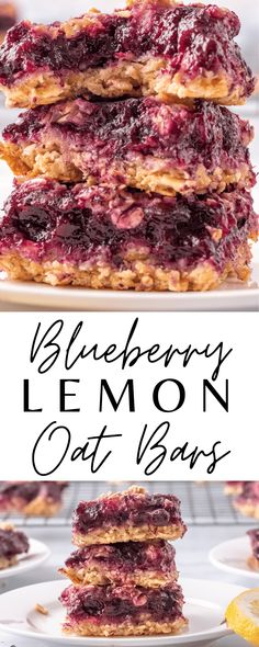 These Blueberry Lemon Oat Bars are the BEST EVER! They are made with oatmeal, blueberries, and lemon and have the best flavor! Vegan and Gluten Free REcipe too.