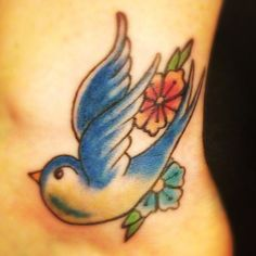 swallow tattoo for ankle | Colored Swallow And Flower Tattoo On Ankle