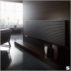 Radiator Sorento - Black colors will always look good together. Home Radiators, Vertical Radiators, Large Windows, Picture Wall, Blinds, Curtains, Living Room, Interior, Furniture