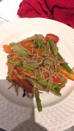 My Recipe: Soba Noodle Stir Fry w/ Homemade Spicy Orange Sauce