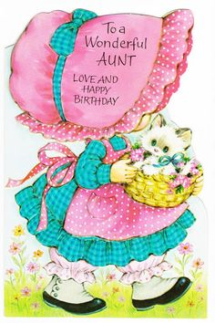 Items similar to Cute Aunt Birthday Card from Girl, Vintage, Unused on Etsy Happy Birthday Email, Birthday Card For Aunt, Happy Birthday Auntie, Vintage Birthday Cards, Bday Cards, Personalized Birthday Cards, Happy Birthday Quotes, Birthday Messages, Birthday Images