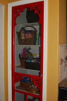 red screen door for the pantry -- must do! Screen Door Pantry, Screen Doors, Thrifty Decor Chick, Home Art, Bookcase, Sweet Home, New Homes, Diy Projects, Diy Crafts