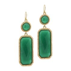 Ivy Earrings  Simple elegance and bold pizazz are the hallmark of the Ivy earrings. Emerald rectangles framed in gold are the perfect pop of color for any ensemble.