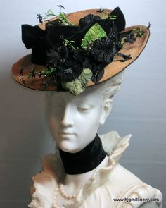 d3fae3acb41 Antique Edwardian Natural Straw Walking Hat, Black Velvet Wired Brim &  Blooms