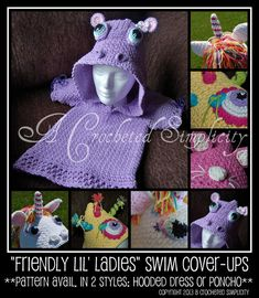 "Crochet Pattern: ""Friendly Lil Ladies"" Swim Cover-Up (Hooded Dress Style) by ACrochetedSimplicity, $3.99"