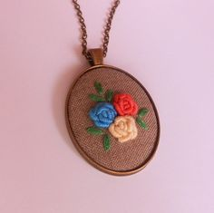 Floral Necklace, Pendant Necklace, Ooak Jewelry, Handmade Jewelry, Embroidered Necklace, Flower Bouquet Necklace, Statement Necklace