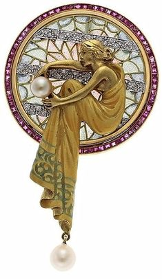 Art Nouveau Diamond/Pearl Brooch