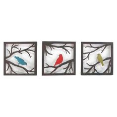 Birds on Branch 3 Piece (11x11)