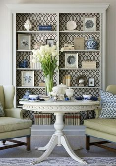 paint and wallpaper bookcase for family room/living room Love the design on the back of the shelves. My Living Room, Home And Living, Living Spaces, Modern Living, Small Living, Wallpaper For Living Room, Blue And White Living Room, Wallpaper Bookcase, Home Interior
