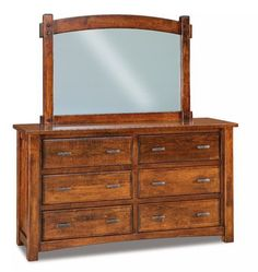 Amish Timbra 6-Drawer Dresser with Optional Beveled Mirror The Timbra takes on storage with strength and substance! Custom made in Amish country. Choose the wood, stain and hardware you like best. #bedroom #bedroomdresser #bedroomstorage