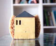 Napkin Holder-Sponge Holder-Tin House-Handmade Pottery by Vsocks