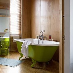 I love these old claw foot tubs.The green is my favorite.