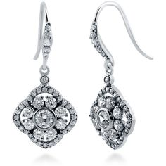 BERRICLE Sterling Silver CZ Art Deco Wedding Bridal Fashion Fish Hook... ($60) ❤ liked on Polyvore