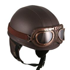 Amazon.com: Leather Brown Motorcycle Goggles Vintage Garman Style Half Helmets Motorcycle Biker Cruiser Scooter Touring Helmet: Automotive