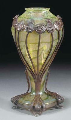 "LOETZ, A PATINATED BRONZE-MOUNTED IRIDESCENT GLASS VASE 10.75""h., Christie's London, $3,192"