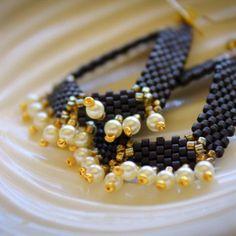 Black & Gold Geometric Handmade Beaded Earrings w/ Pearls