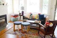 """My mom graciously gifted me a Southwestern-style rug for my front room and that inspired the tone for that space,"" Kendra says."