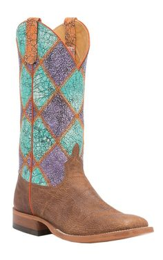 c9884501574 Anderson Bean Mens Tan Whitetail w  Acid Wash Patchwork Square Toe Western  Boot Cowboy Boots