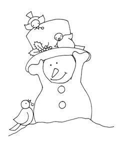 ■ Dearie Dolls...      free Dearie Dolls digi stamp of little snowman wearing his tophat because 3 of his birdie friends have come for a visit