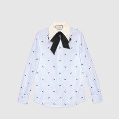 Hemd aus Fil Coupé mit Durchstochenes Herz-Motiv - Gucci Women's Long Sleeve Shirts 476044Z383C9474