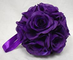 "6"" Large Flower Balls Dark Purple Lapis Wedding Flowers Pew Bows Centerpieces 
